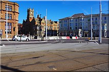 SD3036 : New tram tracks, Talbot Square, Blackpool by P L Chadwick