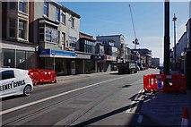 SD3036 : New tram tracks in Talbot Road, Blackpool by P L Chadwick