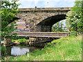 SD7910 : River Irwell, Stone Footbridge and Daisyfield Viaduct by David Dixon