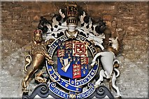 ST6834 : Bruton, St. Mary's Church: Royal Coat of Arms 1 by Michael Garlick