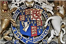 ST6834 : Bruton, St. Mary's Church: Royal Coat of Arms 2 (detail) by Michael Garlick
