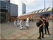 SJ8397 : Morris Dancers outside the Bridgewater Hall by Gerald England