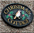 ST6092 : Christmas Cottage name sign, Church Road, Oldbury-on-Severn by Jaggery