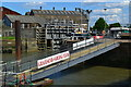 TQ6574 : Gravesend Sailing Club landing stage, with entrance to former canal basin beyond by David Martin