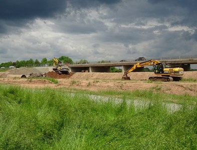 SO8451 : Excavators working on Worcester's southern relief road by Philip Halling