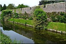 ST5545 : Moat and wall of the Bishop's Palace by David Martin