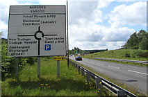 ST1599 : Station Road directions sign, Bargoed by Jaggery