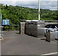 SO1500 : Litter bin and recycling bins, Station Road, Bargoed by Jaggery