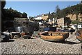 SY2389 : Boats on Beer Beach by Peter Jeffery
