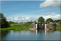 SP1876 : Farmland and Knowle Bottom Lock near Solihull by Roger  Kidd