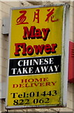 ST1599 : May Flower Chinese takeaway name sign, High Street, Bargoed by Jaggery