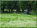 SO7744 : Tractor rolling bracken on Malvern Common by Philip Halling