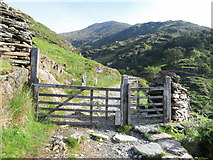 SH6251 : Gate on the Watkin Path in Cwm Llan by Gareth James