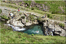 SH6251 : Taking a dip in the Afon Cwm Llan by Gareth James