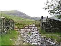 SH5544 : Gate and ladder stile near Llyn Cwmystradllyn by Gareth James