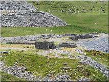 SH5745 : Derelict buildings at Gorseddau quarry by Gareth James