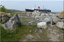 SJ1779 : Gate along the Wales Coast Path at Llannerch-y-Môr by Mat Fascione