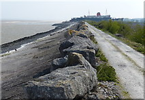 SJ1779 : Wales Coast Path and coastal defences at Llannerch-y-môr by Mat Fascione