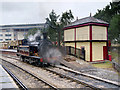 SE0641 : Steam Locomotive and Signal Box at Keighley by David Dixon