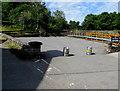 SO1122 : Kegs across the White Hart Inn car park, Talybont-on-Usk by Jaggery