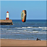 NU0052 : Kite landboarding at Sandstell Point by Walter Baxter