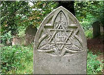 TG2408 : Gravestone symbolism (IHS) by Evelyn Simak