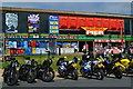 TF5663 : Motorbikes lined up at Skegness Pier by David Martin