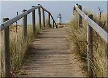 SJ1285 : Boardwalk through the dunes at Point of Ayr by Mat Fascione
