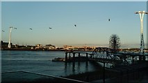 TQ3979 : View of the Emirates Air Line from the end of The Tide by Robert Lamb