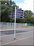 TL4760 : Signpost on Cambridgeshire Guided Busway by Adrian Cable