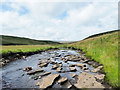 NY7334 : Angled rock plates in River Tees by Trevor Littlewood