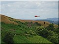 SO7640 : The air ambulance landing on the Malvern Hills by Philip Halling