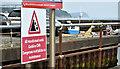 D4202 : Rock fall warning sign, Ballylumford harbour (August 2019) by Albert Bridge