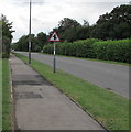 ST3094 : Staggered minor crossroads warning sign, Llanfrechfa Way, Cwmbran by Jaggery