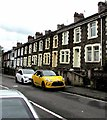 ST1597 : Yellow car and white car, Cardiff Road, Pengam by Jaggery