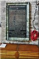 NY4626 : Dacre, St. Andrew's Church: First World War memorial plaque by Michael Garlick