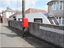ST3090 : Queen Elizabeth II postbox on a wooden pole, Pillmawr Road, Malpas, Newport by Jaggery