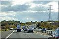 TL5038 : Power Lines Crossing the M11 near Littlebury Green by David Dixon