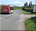 SO4810 : Stagecoach bus passes the entrance road to Square Farm Shop, Mitchel Troy by Jaggery