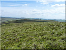 SJ0935 : Along the ridge above Blaen cwm-llawenog by Richard Law