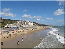 SZ1191 : Boscombe beach from pier by David Hawgood