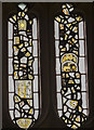 SP1114 : Medieval stained glass fragments, Ss Peter & Paul church, Northleach by Julian P Guffogg