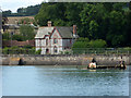 SX9782 : River, wreck, railway and house approaching Starcross by Chris Allen