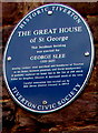 SS9512 : The Great House of St George blue plaque, St Peter Street, Tiverton by Jaggery