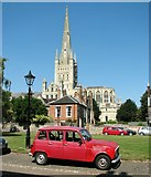 TG2308 : Norwich Cathedral from the Lower Close by Evelyn Simak
