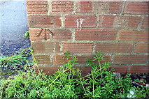 SP8788 : Benchmark on garage block on east side of Brinsley Green by Phil Richards