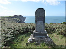 SM8938 : Memorial stone to Dewi Emrys a Welsh poet, at Pwll Deri, Pembs by Jeremy Bolwell
