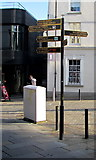 SS9079 : Signpost on a town centre corner, Bridgend by Jaggery