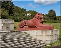TQ3370 : Crystal Palace Park : sphinx on plinth by Julian Osley