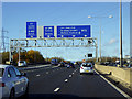TQ2399 : Sign Gantry on the M25 in Hertfordshire by David Dixon
